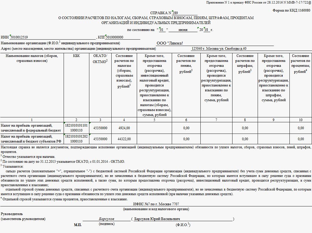 Справка о расчетах с бюджетом