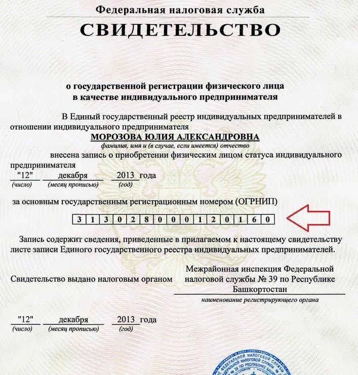 ОГРНИП документ предпринимателя