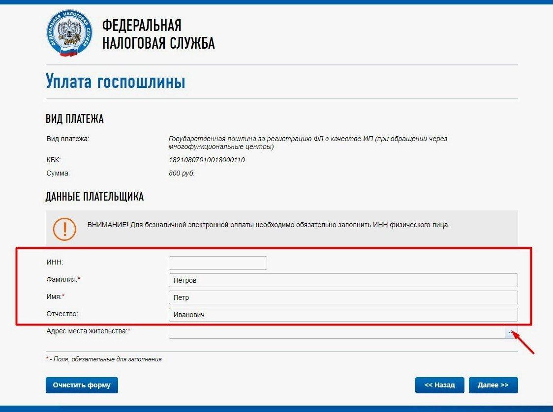 Оплата госпошлины на сайте ФНС